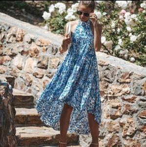 NWT Blue & White Paisley HIGH Low HALTER Dress